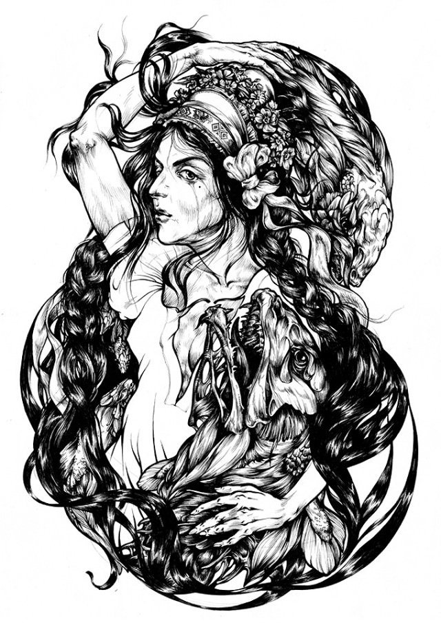 Indrukwekkende-zwart-wit-illustraties-Maria-Surkova-9
