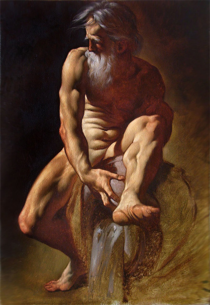 59 Dio fluviale olio su tela 60x40