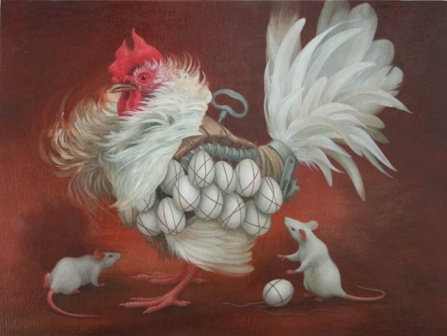 "Heidi Taillefer, ""Paternity Suit,""  2007. Oil on canvas. 10 x 12 in."