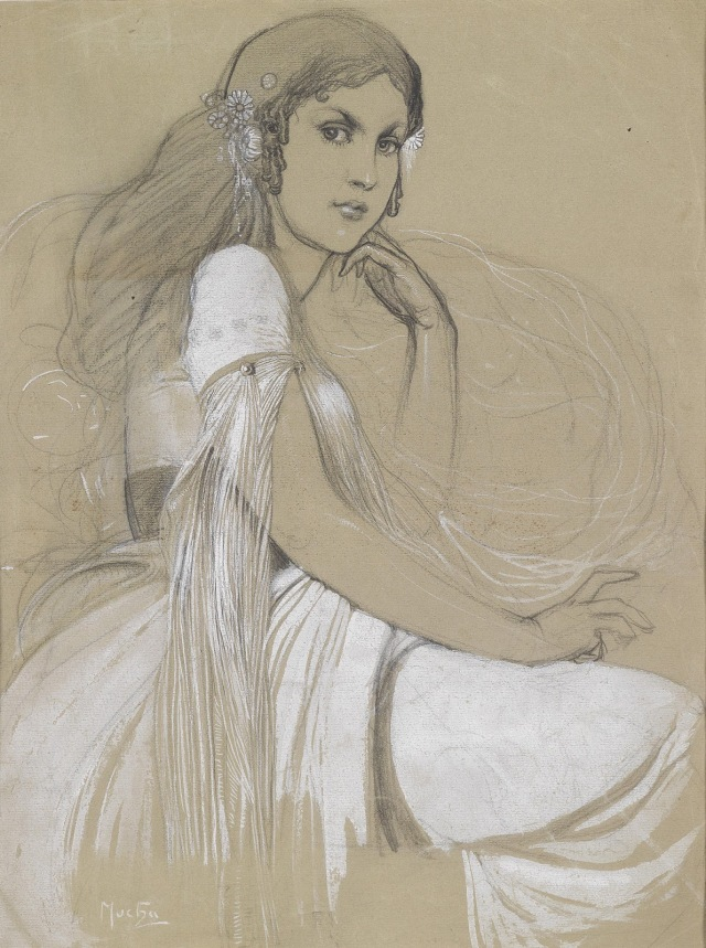 1930c Portrait of Jaroslava Mucha in Czech National Costume pencil and white paint on paper