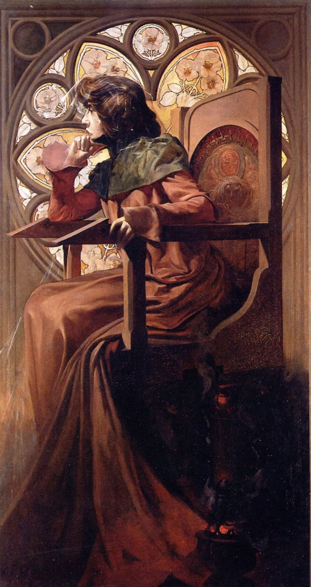 Portrait of Sarah Bernhardt oil on canvas 146 x 80 cm