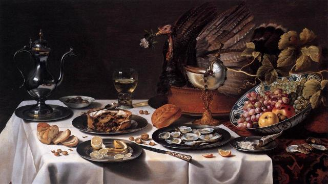 Still Life with Turkey Pie, 1627, Pieter Claesz
