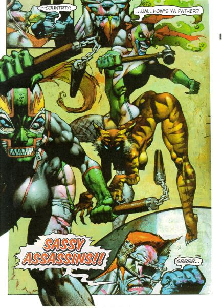 Simon Coldwater vs the Sassy Assassins|Simon Bisley draws the epic battle between Simon Coldwater and the Sassy Assassins|Simon Coldwater|simon coldwater