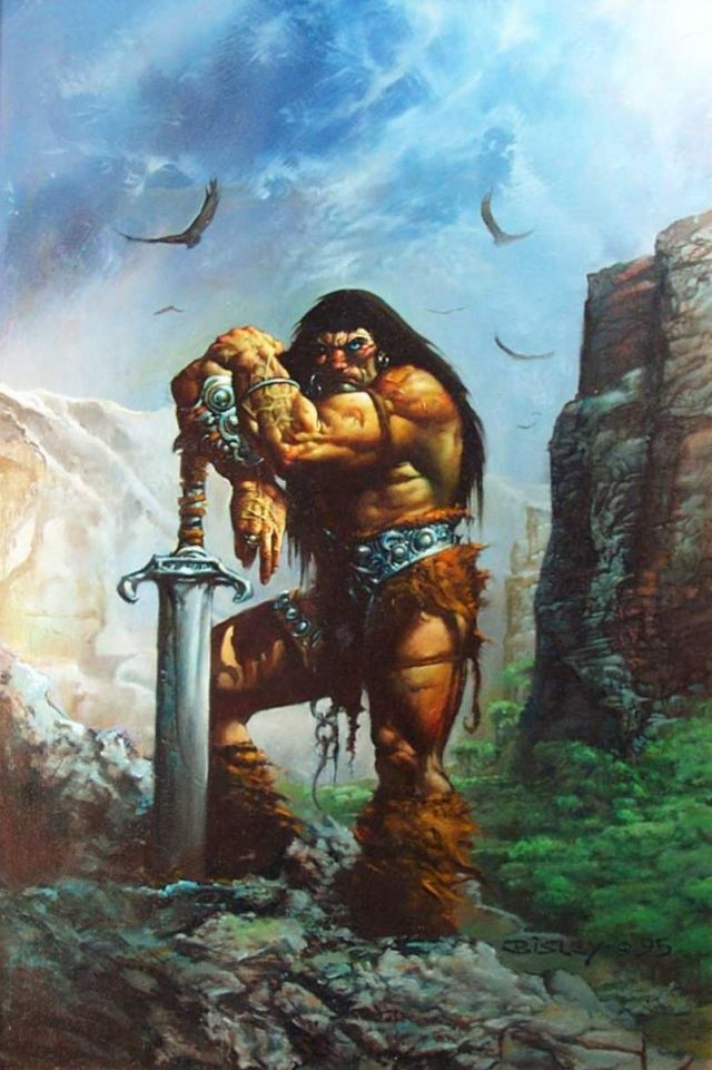 Conan painted by Simon Bisley|One of the greatest paintings of Conan. |Pinups|conan,1995,sword,birds