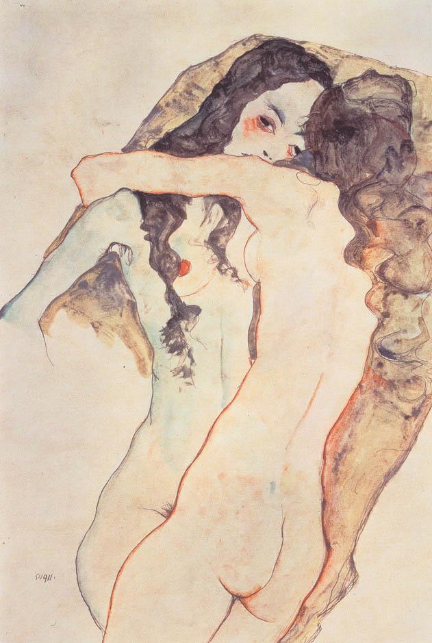 Egon_Schiele_-_Zwei_sich_umarmende_Frauen_-_1911